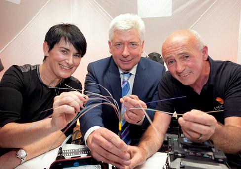 At the eircom announcement this week of the one-millionth premises in Ireland passed with superfast fibre broadband were Carolan Lennon, MD, eircom Wholesale, Alex White, Minister for Communications, Energy and Natural Resources, and Mike Long, technician, eircom.