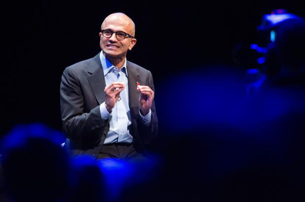 Microsoft chief executive, Satya Nadella, pictured discussing trends in computing this week, reveals the shift in focus at the global empire.