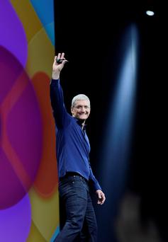 Apple chief executive Tim Cook: the tech giant aims to recah 100m people with its new music-streaming service