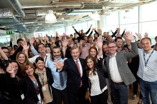 The AdRoll team, when Enda Kenny came to visit, with Marius Smyth second from right, at the front