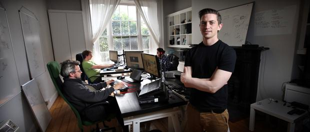 Eoghan O'Sullivan, the chief executive of Von Bismark, in their offices in Herbert Road. They launch their shopping platform on the Xbox One this September. Photo: Tony Gavin