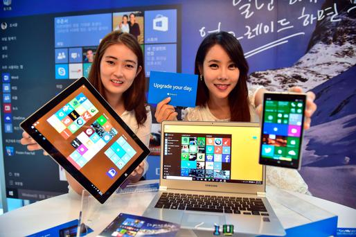 US Software giant Microsoft showcasing Windows 10 during a launch event in Seoul, Korea