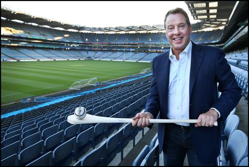 Ford Motor Company executive chairman Bill Ford indulges his passion for hurling at Croke Park. Photo: Steve Humphreys.