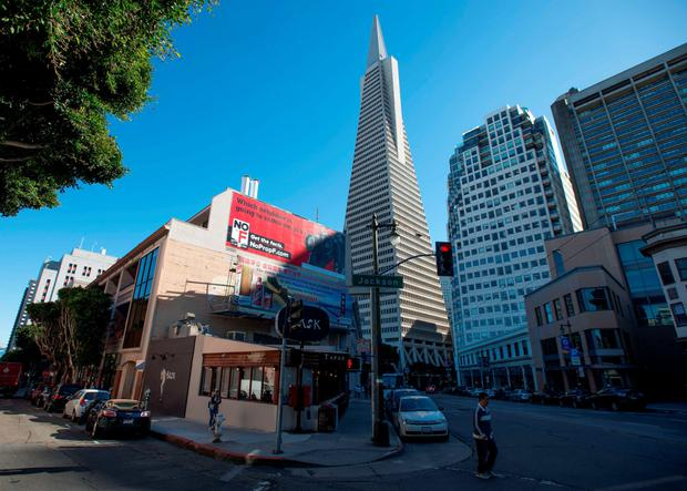 A billboard funded by Airbnb shows opposition to Proposition F in downtown San Francisco