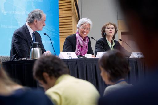Caroline Atkinson (right) with Christine Lagarde, during her time with the organisation.