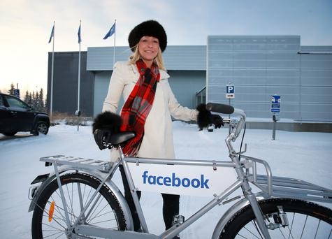 Facebook employee Charlotte Ens at the company's data centre near Lulea in northern Sweden Photo: Frank McGrath