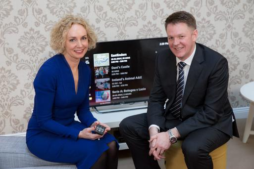 Vodafone Ireland CEO Anne O'Leary and head of consumer fixed Ciaran Barrett at this week's launch of the new service.