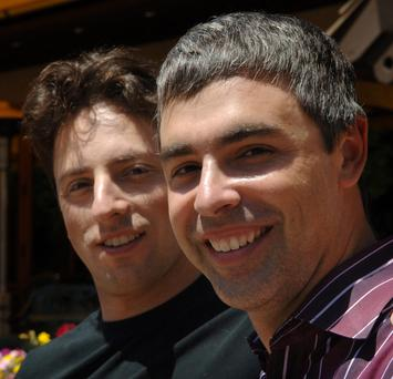 Google president and co-founder Larry Page and Google president and co-founder, Sergey Brin, pose for a picture.