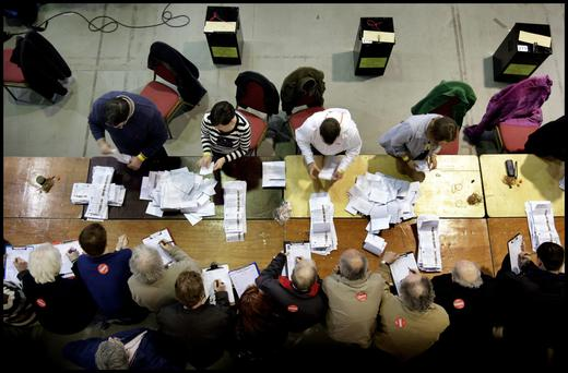 Opening up boxes at the Count Centre in 2011. Photo: Steve Humphreys