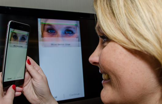 MasterCard shows off a host of new payment verification methods in Dublin, including an eye scanner, which maps the blood vessels in a user's eyes.