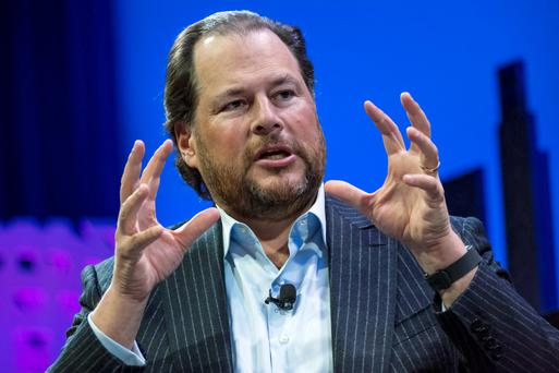 Salesforce's Marc Benioff, opposite page, warned of a cull of unicorns while in Davos.