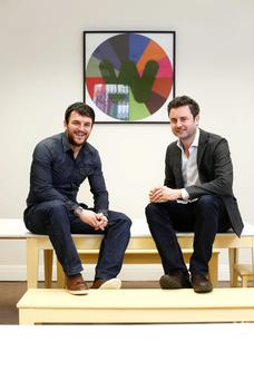 Software engineer Andrew Mullaney and entrepreneur Paul Quigley, co-founders of NewsWhip, in their new Merrion Square offices in Dublin.
