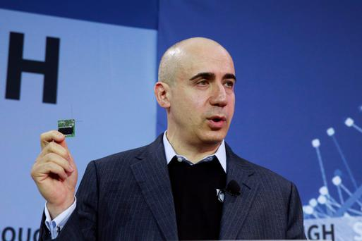 Yuri Milner, named after Yuri Gagarin, at this week's press conference in New York.