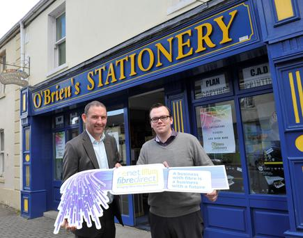 Conal Henry, ceo of enet with Conor O'Brien, O'Brien's Stationery, Ardee, receving high speed broadband. Photo: Ken Finegan