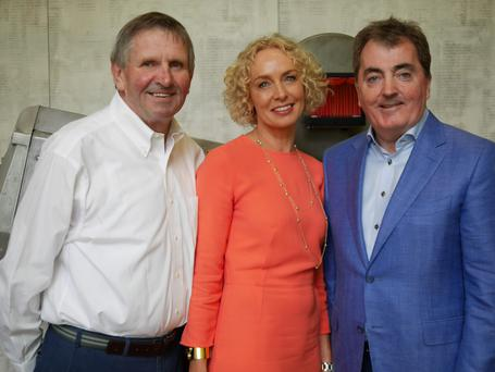 Local supermarket owner John Field; Anne O'Leary, chief executive, Vodafone Ireland; and Sean O'Driscoll, president of Glen Dimplex