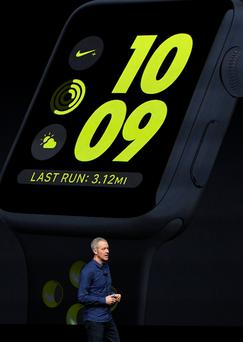 Jeff Williams, chief operating officer of Apple, unveils the Apple Watch 2 in San Francisco