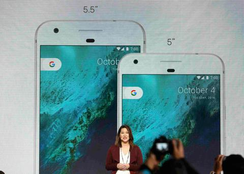 Sabrina Ellis, Director of Product Management at Google, speaks about the new Pixel phone during the presentation of new Google hardware in San Francisco