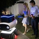 One of the self-driving Domino's delivery robots, which will begin taking customers pizza in Germany and the Netherlands