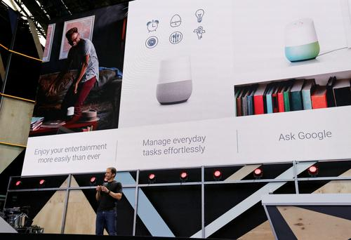 Google vice president Mario Queiroz talks up the Google Home device during the keynote address of the Google I/O conference in Mountain View, California
