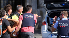Emergency services respond after the recent attack on Las Ramblas in Barcelona Photo: AP