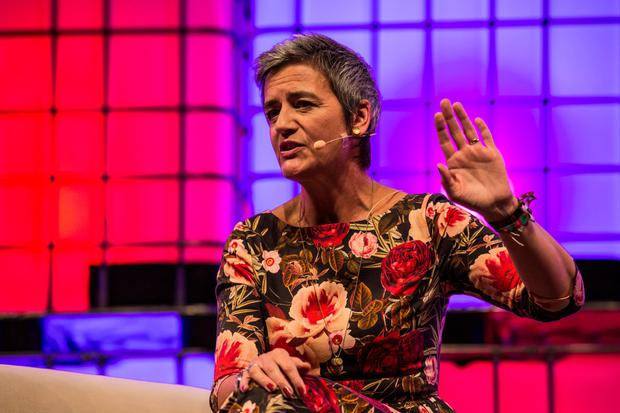Commissioner Margrethe Vestager speaking at the Web Summit last week Photo: Bloomberg