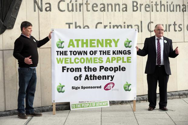 Athenry residents Martin Fergus (left) and Kevin Higgins show their support for Apple's Athenry data centre as protests and delays cast doubt on its future. Pic Collins Courts.