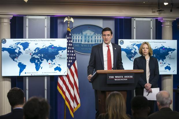 Donald Trump's US Department of Homeland Security (DHS) adviser Tom Bossert and Jeanette Manfra, DHS assistant secretary for cybersecurity and communication at a White House briefing which blamed North Korea for the WannaCry ransomware attack. Photographer: Al Drago/Bloomberg