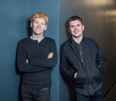 Limerick-born brothers Patrick and John Collison, co-founders of Stripe