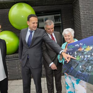 Taoiseach Leo Varadkar, TCD provost Patrick Prendergast and Betty Ashe, community representative, at the Grand Canal Innovation District launch