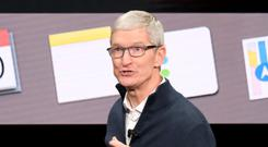 Apple CEO Tim Cook on stage today in New York at the launch of the MacBook Air. Photo: Adrian Weckler