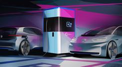 Powering up: An artist's impression of a VW charger of the future which will consist of a 360 kw-hour battery that can serve enough electricity for as many as 15 EVs, in about 17 minutes for each one