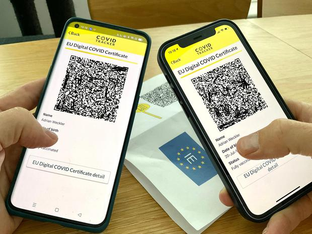 The Digital Covid Cert is easy to copy, which means it will be weak verification in pubs and restaurants with no ID support.  Photo: Adrien Weckler