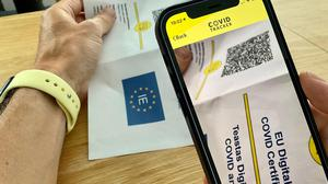 The Digital Covid Cert can be placed either in your smartphone's Covid Tracker app or in the phone's built-in wallet. Photo: Adrian Weckler