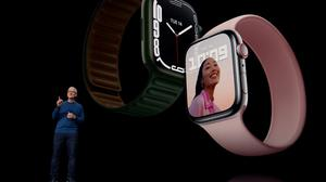 Apple CEO Tim Cook unveils the Apple Watch Series 7 at an event at Apple Park in Cupertino, California. Photo: Apple Inc/via Reuters