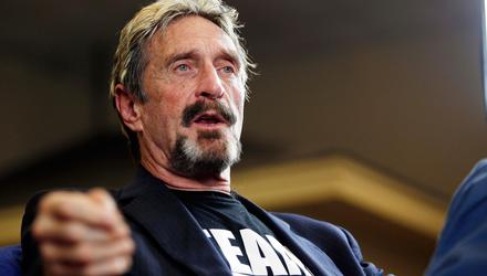 John McAfee announces his candidacy for president in Opelika, Alabama, in 2016. Picture: AP