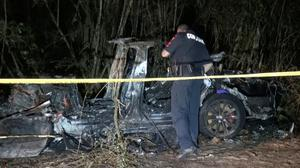 The remains of a Tesla vehicle are seen after it crashed in The Woodlands, Texas. Picture: Reuters