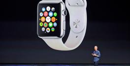 Apple CEO Tim Cook iunveiling the Apple Watch
