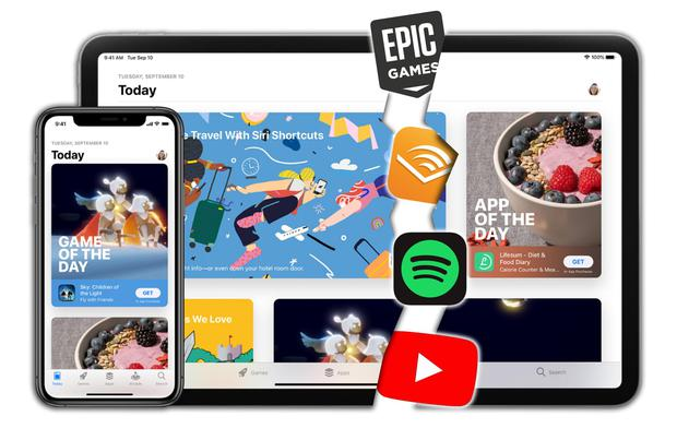 Breakout: Services and developers including Epic Games, Audible, Spotify and YouTube object to the cut Apple takes and the limiting of their offerings