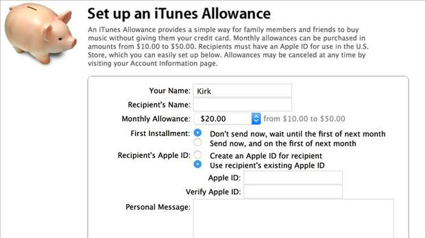 itunes account for kids
