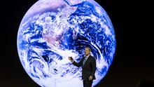 Former US Vice President Al Gore delivering a presentation on climate change at a session of the World Economic Forum yesterday