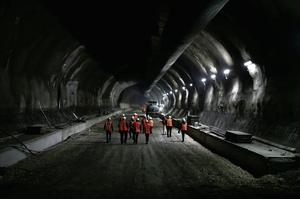 Light at the end of the tunnel: workers inspect a major highway project in Platamonas, Greece. KONSTANTINOS TSAKALIDIS