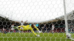 Czech Republic's Patrik Schick scores against Scotland in their European Championships game in Glasgow on Monday. Goldman Sachs predict the Scots have a zero percent chance of winning the competition. Photo: Reuters/Lee Smith
