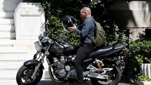 Greek Finance Minister Yanis Varoufakis leaves the Prime Minister's office where a governmental council takes place in Athens June 15, 2015. Greece's government on Monday played down the prospect of submitting a new counter-proposal as sought by lenders in