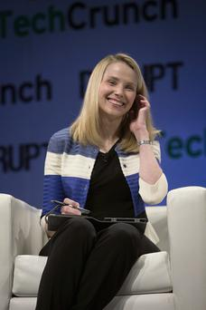 Marissa Mayer, chief executive officer of Yahoo! Inc., speaks during the TechCrunch Disrupt NYC 2013 conference in New York, U.S., on Monday, April 29, 2013. The event features leaders from various technology fields and includes a competition for the best new startup company. Photographer: Scott Eells/Bloomberg *** Local Caption *** Marissa Mayer
