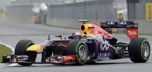 REVVING UP: Sebastian Vettel, of Germany, drives during the qualifying session at the F1 Canadian Grand Prix race