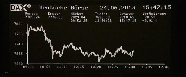 The curve of the German share price index DAX board is pictured at the Frankfurt stock exchange June 24, 2013. REUTERS/Remote/Stringer