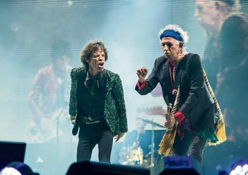 Mick Jagger and Keith Richards on stage at Glastonbury