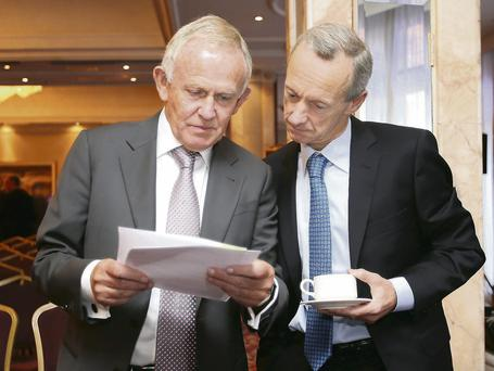 INM chairman Leslie Buckley (left) with CEO Vincent Crowley before the start of the AGM