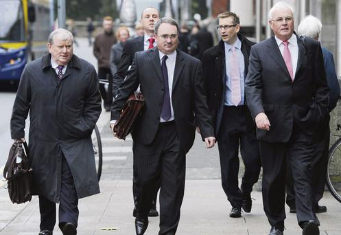 WALK TALL: From left, Nama's head of asset recovery Ronnie Hanna, CEO Brendan McDonagh, relationship manager Martin Whelan and chairman Frank Daly