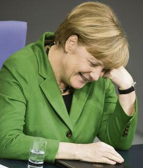 German Chancellor Angela Merkel at a meeting in the Bundestag.